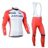 Vente Nouveau Tenue Maillot Cyclisme Longue + Collant à Bretelles katusha