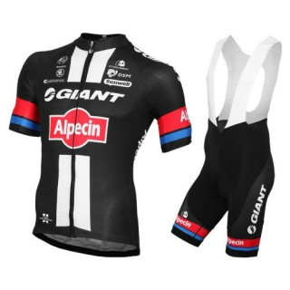 Vente Privee Equipement 2016 Tenue Maillot Cyclisme Courte + Cuissard à Bretelles Giant Alpecin