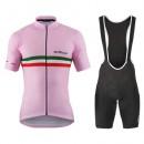 Vente Privee Equipement 2017 De Marchi PT Italie Flag Rose Tenue Maillot Cyclisme Courte + Cuissard à Bretelles