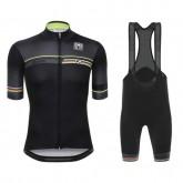 Vente Privee Equipement 2017 Santini UCI Rainbow Line Noir Tenue Maillot Cyclisme Courte + Cuissard à Bretelles