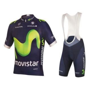 Vente Privee Equipement 2017 Tenue Maillot Cyclisme Courte + Cuissard à Bretelles Movistar Equipe