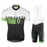 Vente Privée Equipement 2017 Tenue Maillot Cyclisme Courte + Cuissard à Bretelles Scott RC Blanc-vert-Noir