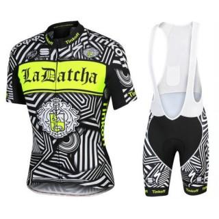 Vente Privee Equipement 2017 Tenue Maillot Cyclisme Courte + Cuissard à Bretelles Tinkoff Training Noir