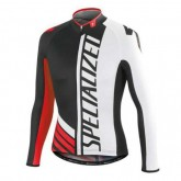 Vente Privee Maillot de Cyclisme Manche Longue SPED SZK Noir-Blanc-Rouge 2016