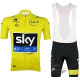 Vente Privee Tenue Maillot Cyclisme Courte + Cuissard à Bretelles Sky Jaune