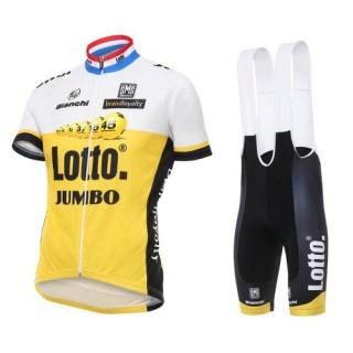 Vente Tenue Maillot Cyclisme Courte + Cuissard à Bretelles Lotto-Jumbo Jaune 2017